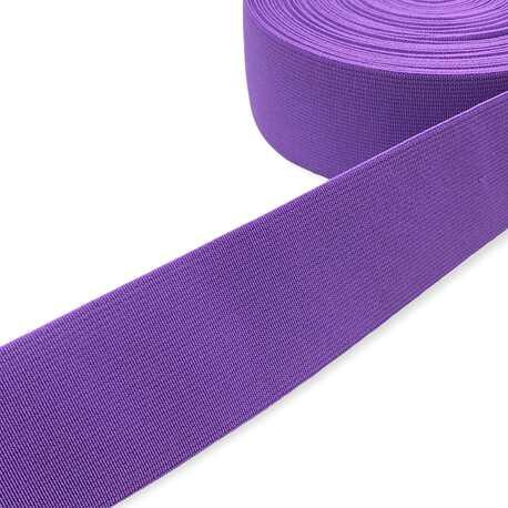 Tkana guma odzieżowa - twarda taśma elastyczna w kolorze fioletowym.