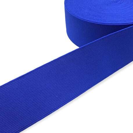 Tkana guma odzieżowa - twarda taśma elastyczna w kolorze chabrowym.