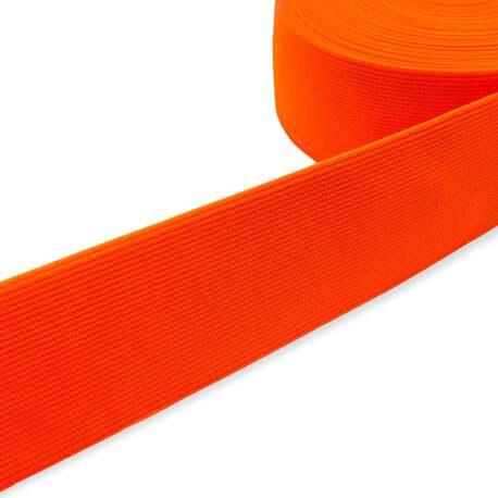 Guma tkana odzieżowa w kolorze pomarańczowym fluorescencyjnym. Mocna, elastyczna guma.