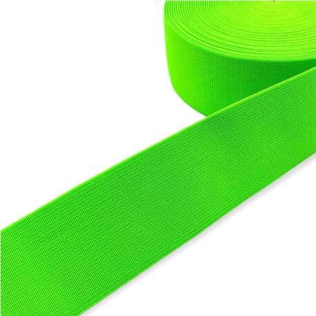Guma tkana odzieżowa w kolorze zielonym fluorescencyjnym. Mocna, elastyczna guma.