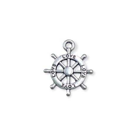 Zawieszka marynarska we wzorze srebrnego steru.