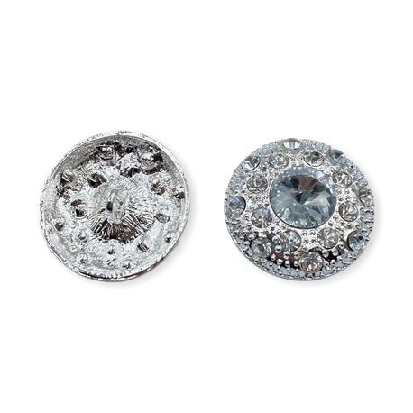 Duży guzik ozdobny z dżetami w kolorze srebrnym