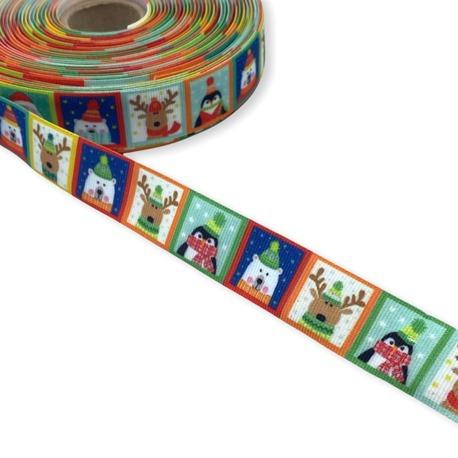 Tasiemka rypsowa świąteczna z obrazkami 15mm