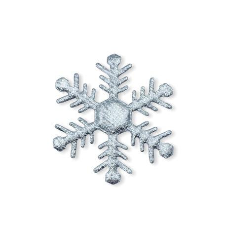 Duża śnieżynka do naszycia w kolorze srebrnym