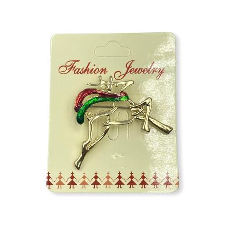 Broszka ozdobna świąteczna złoty renifer