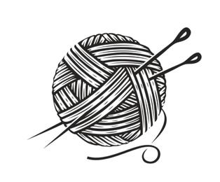 Kłębek włóczki z drutami w kolorze czarnym